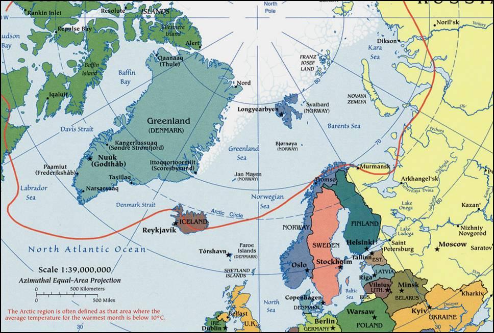 Kaart landen noord europa