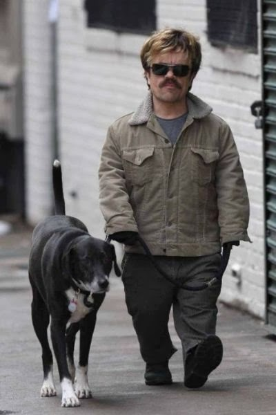 Peter Dinklage walking a dog