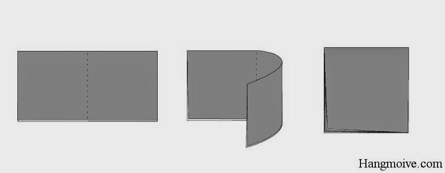 Bước 3: Ta tiếp tục gấp đôi hìn chữ nhật đó lại sau đó lại mở ra để tạo thành nếp gấp.