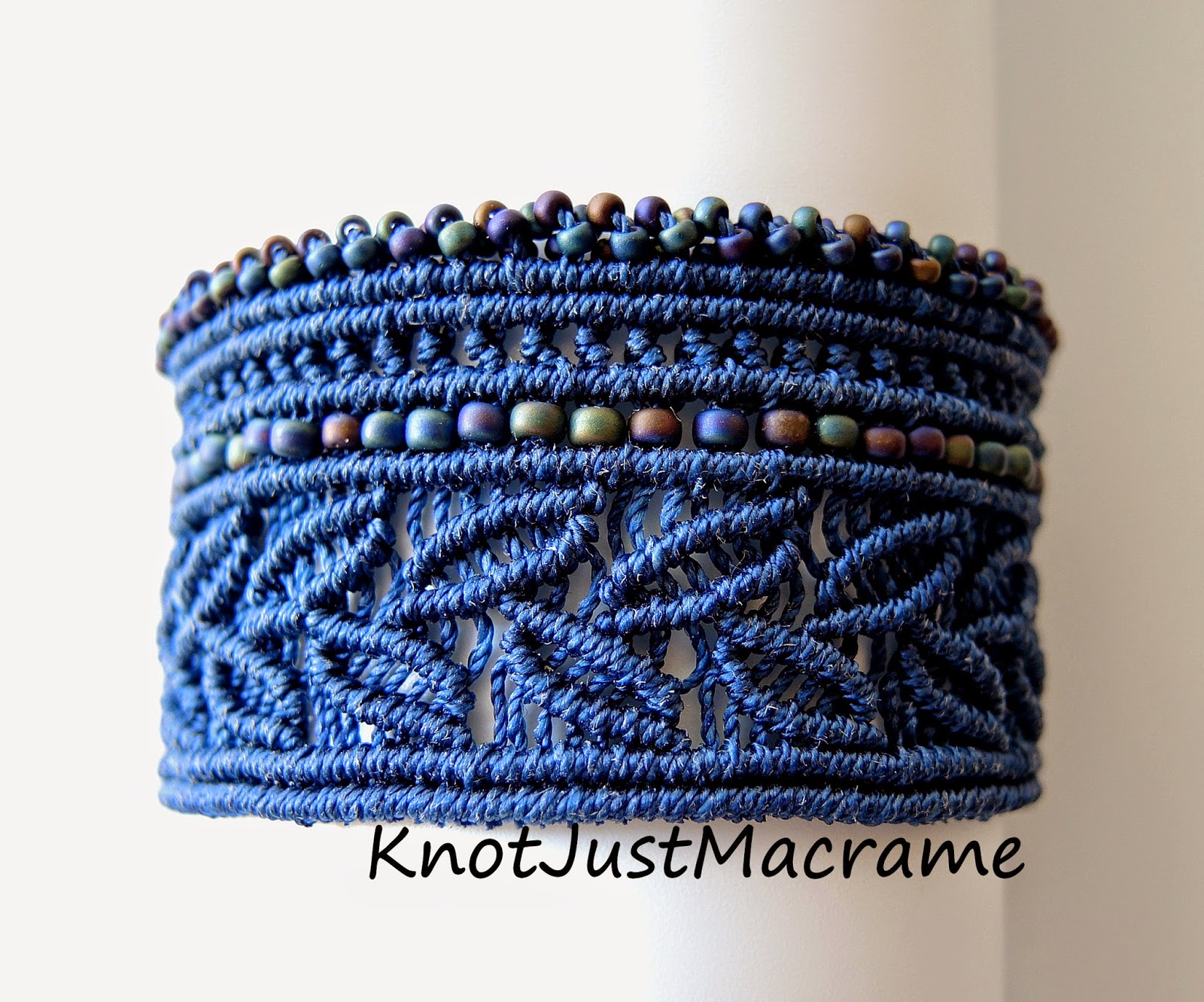 Beaded macrame cuff style bracelet in blue by Sherri Stokey
