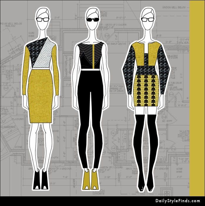 quilted leather, OTK boots, fashion design, fashion illustration, fall 2013, pencil skirt, wool coat, skinny jeans
