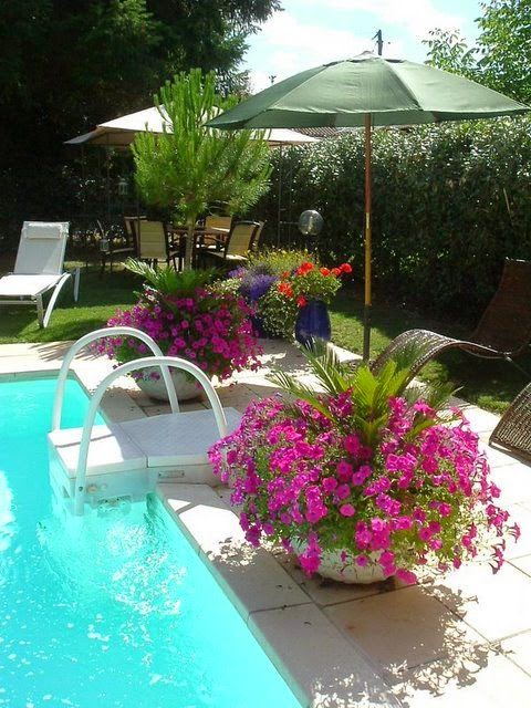 Random anny com inspiration thursday umbrellas in planters for Best plants around swimming pool