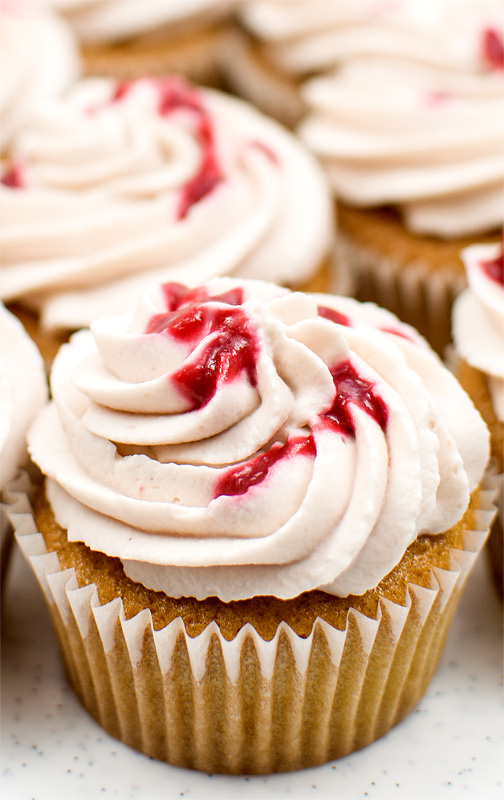Raspberry cupcakes close up