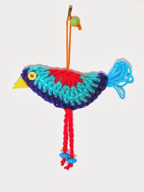 folk style crochet bird