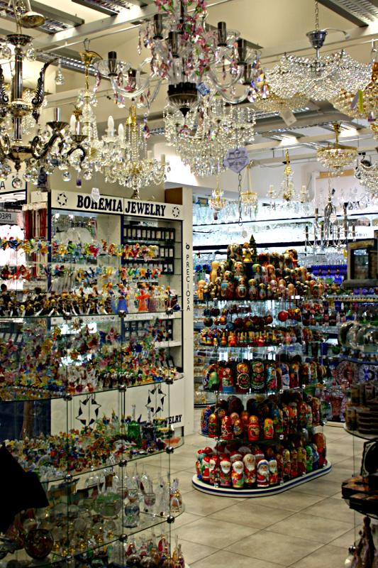 inside a shop selling Bohemian crystal