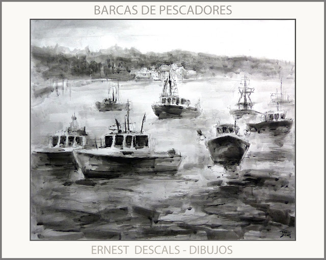 DIBUJOS-BARCAS-PESCADORES-DIBUJO-PAISAJES-ARTISTA-PINTOR-ERNEST DESCALS-