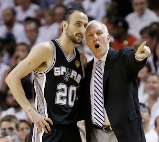 Manu and Coach Popovich, Manu Ginobili and Greg Popovich