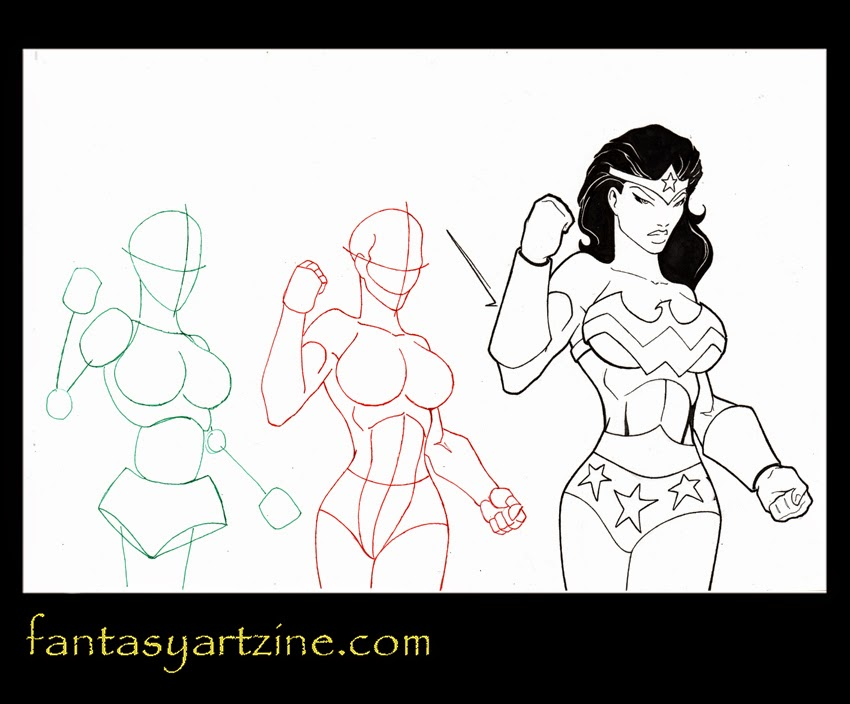 Wonder Woman comic drawing tutorial. How to draw superheroes step by step.