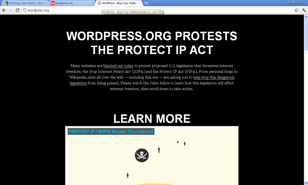 an evaluation of the protests of the worlds most popular websites against the stop online piracy act