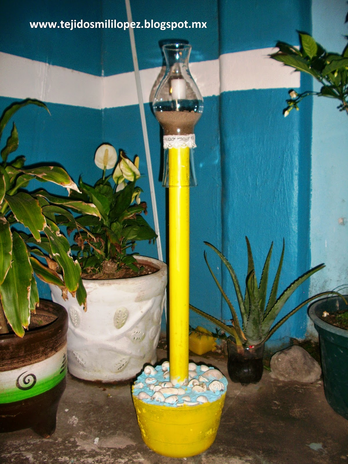 Tocando mis sue os porta velas y porta sombrilla for Como hacer una sombrilla para jardin