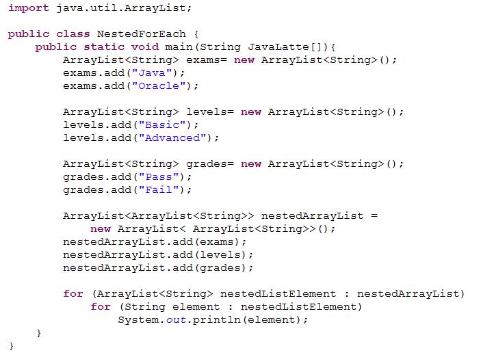 Java Latte Enhanced For Each Loop In Java