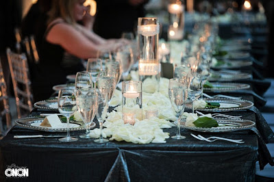 Runner of white rose petals and rhinestone cylinders, Isha Foss Events
