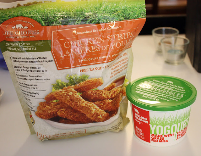 Life Choices Natural food chicken strips and Rolling Meadows Dairy yoghurt