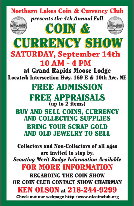"<IMG SRC= ""www.nlcoinclub.org/image.jpg"" ALT= ""Northern Lakes Coin and Currency 2013 Fall Currency Show Saturday, September 14th 2013 10am - 4pm"">"