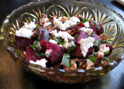 Beet Salad with Goat Cheese, Toasted Walnuts, and Parsley