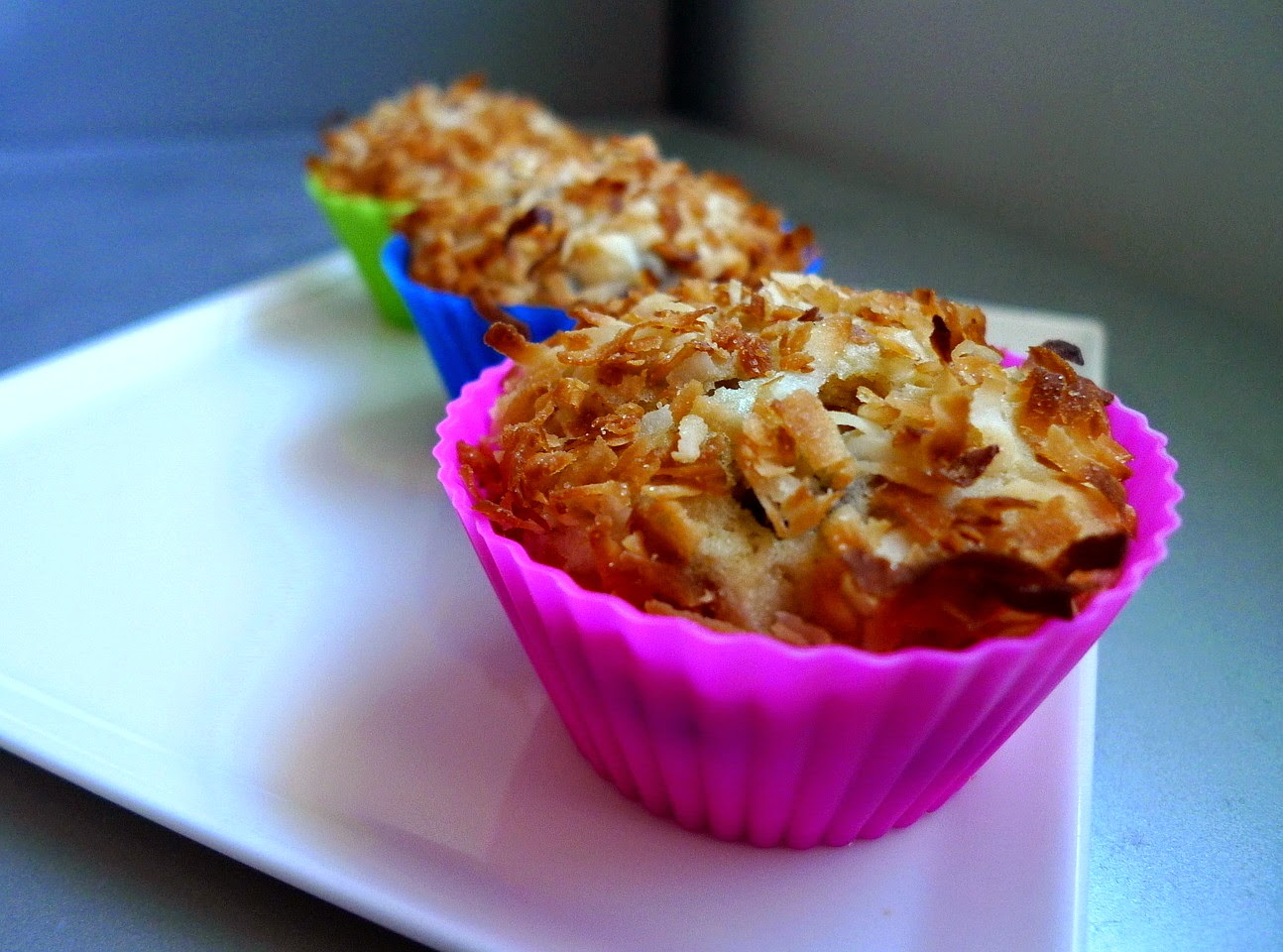 browned butter chocolate chip muffins with toasted coconut and almonds