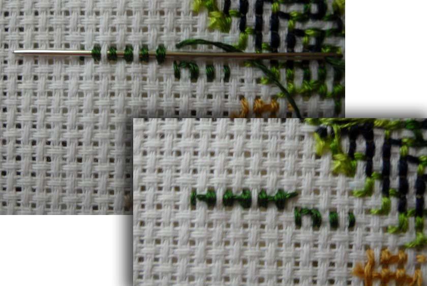 Как закрепить нитку при вышивке полукрестом 23