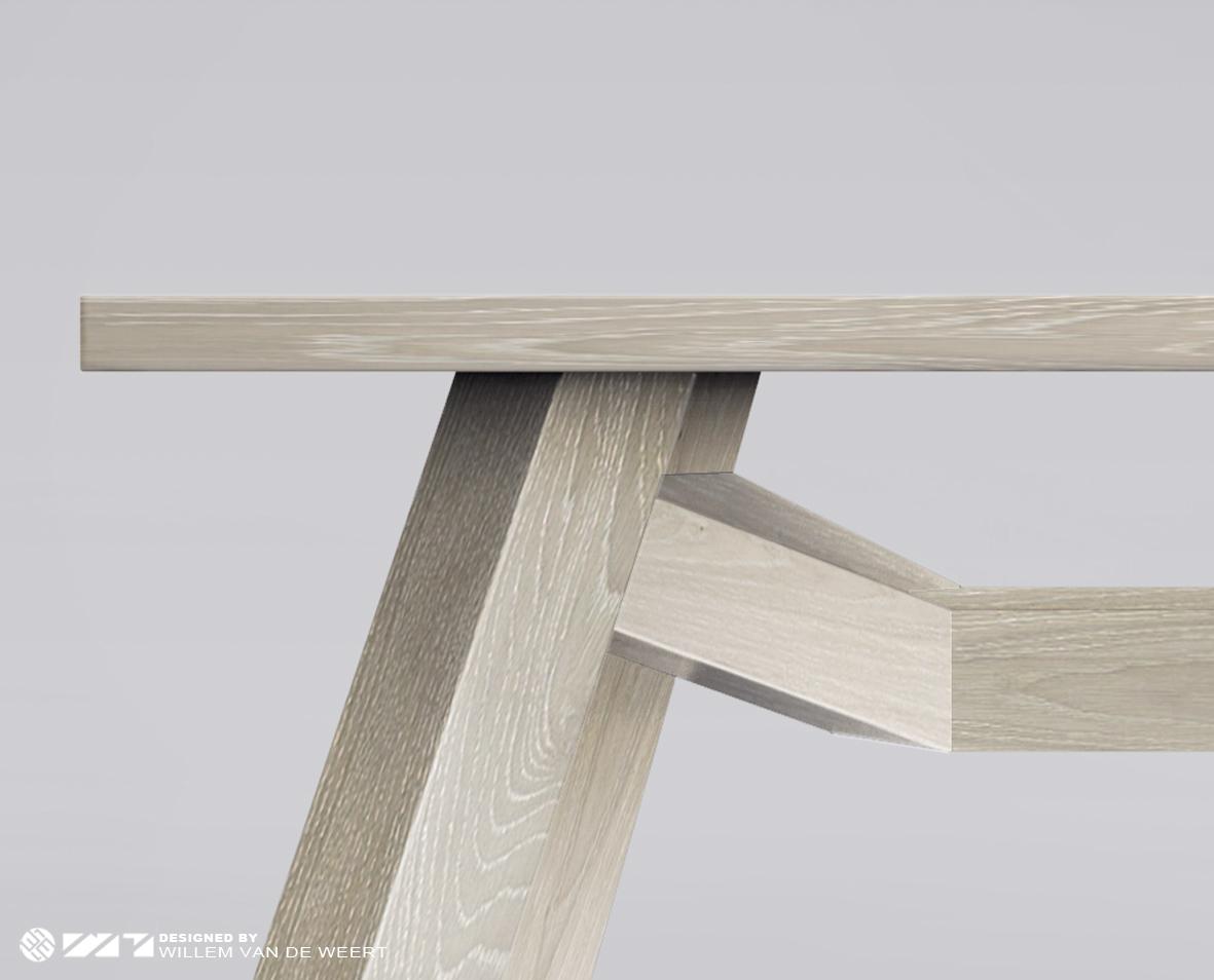 Bruut eiken designtafel for Eiken design tafel