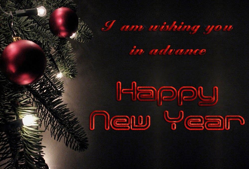 Black Background New Years Advance Wishes 2015 eCard Images
