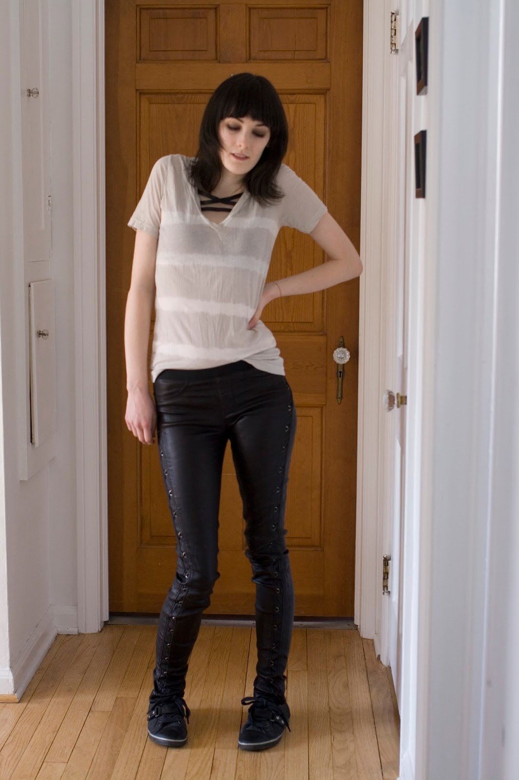 Bombasine.com-- Tee- J Crew/  Leggings- Helmut Lang / Shoes- Aldo / Pentagram bra- DIY, linked in the post