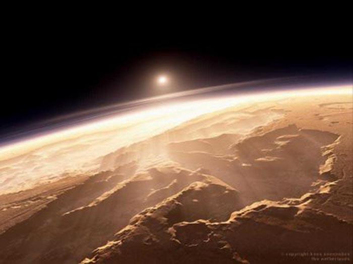 Resultado de imagen de Tharsis Montes es la mayor región volcánica, estando Olympus Monts situado en el noroeste, y la vasta estructura colapsada Alba Patera