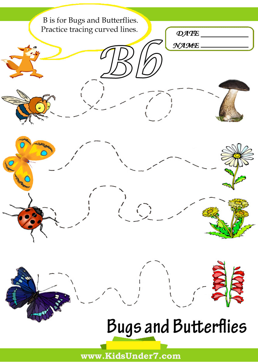 Preschool worksheets bugs : Letter B Worksheets for Preschool Bugs