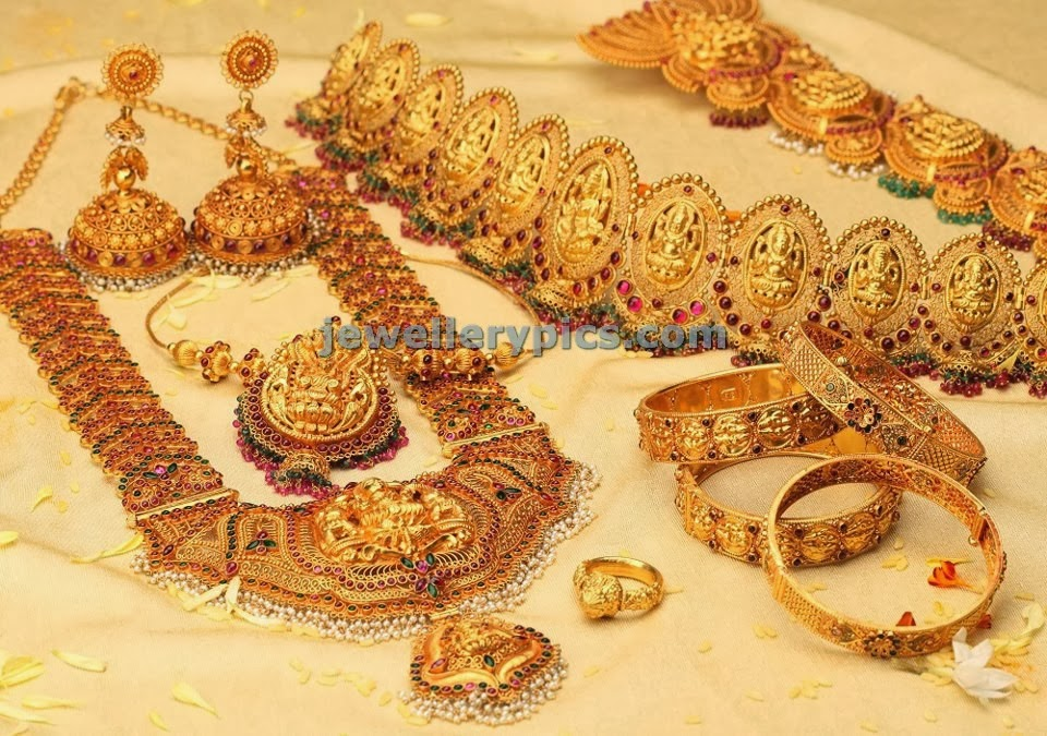 nac jewellers gold temple bridal set