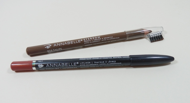 Annabelle eyebrow pencil in Taupe and lipliner in Demure