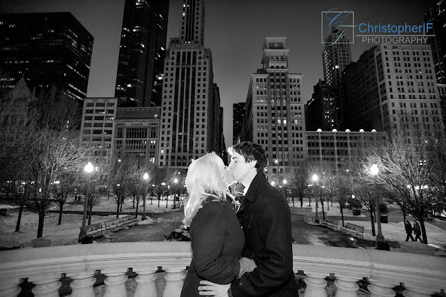 Chicago Engagement Photography Black and White Millennium Park