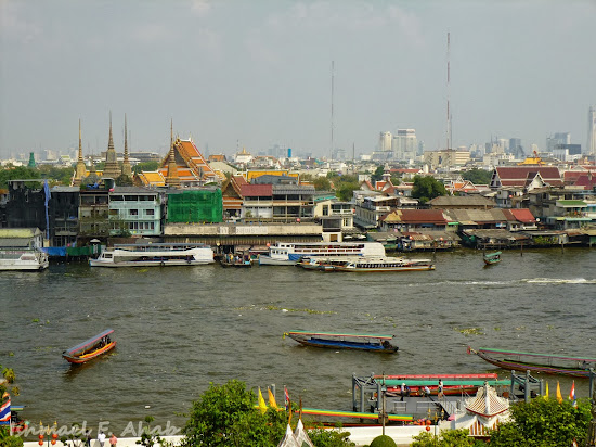 View of the Chao Phraya River from Wat Arun prang