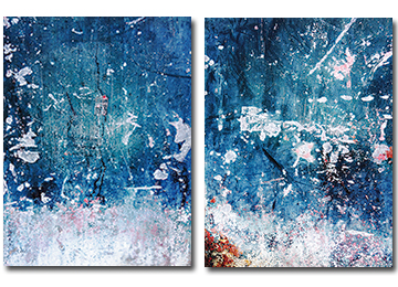 abstract, industrial, canvas art, wall art, modern, blue, diptych, contemporary,