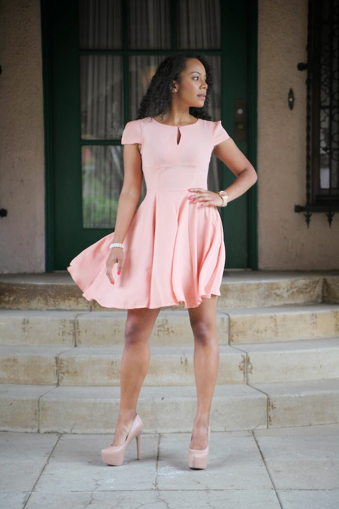 Tautmun regent dress in melon modeled by Tiffy Diamond via Cute LA
