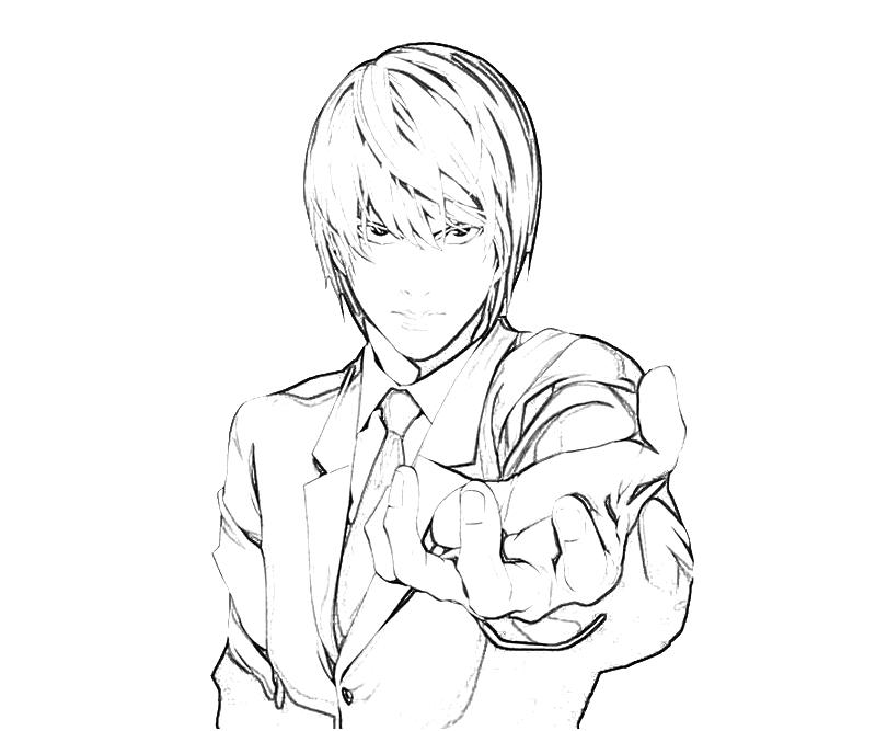 death note coloring pages Death Note Light Yagami Face | Temtodasas death note coloring pages