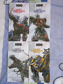 Transformers Age of Extinction Autobots Selamat Hari Raya Eid Mubarak HBO money packet duit packets green  Optimus Prime Bumblebee Grimlock festival