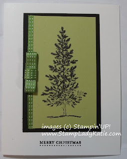 Card made with a package bow and Lovely as a Tree Stamp Set.