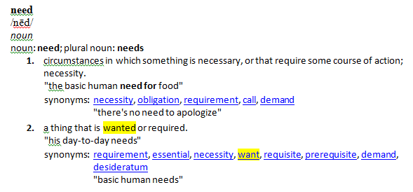 difference between need and demand
