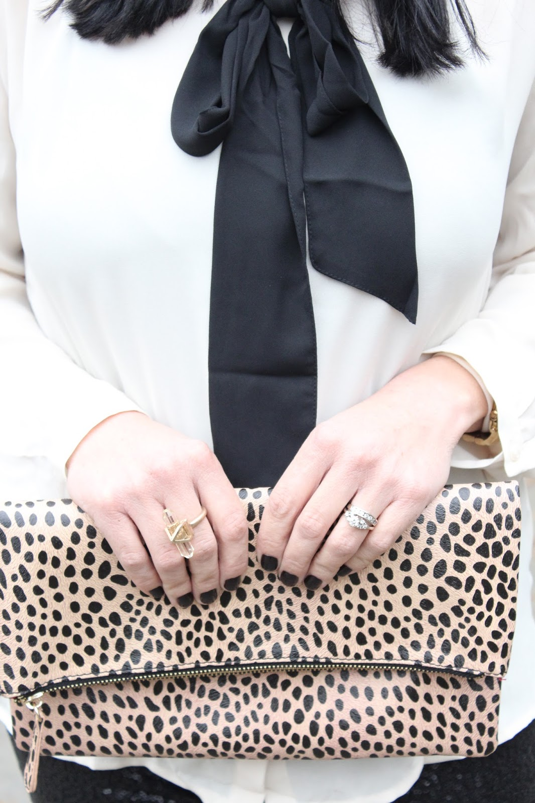 Leopard foldover clutch, lincoln park after dark polish