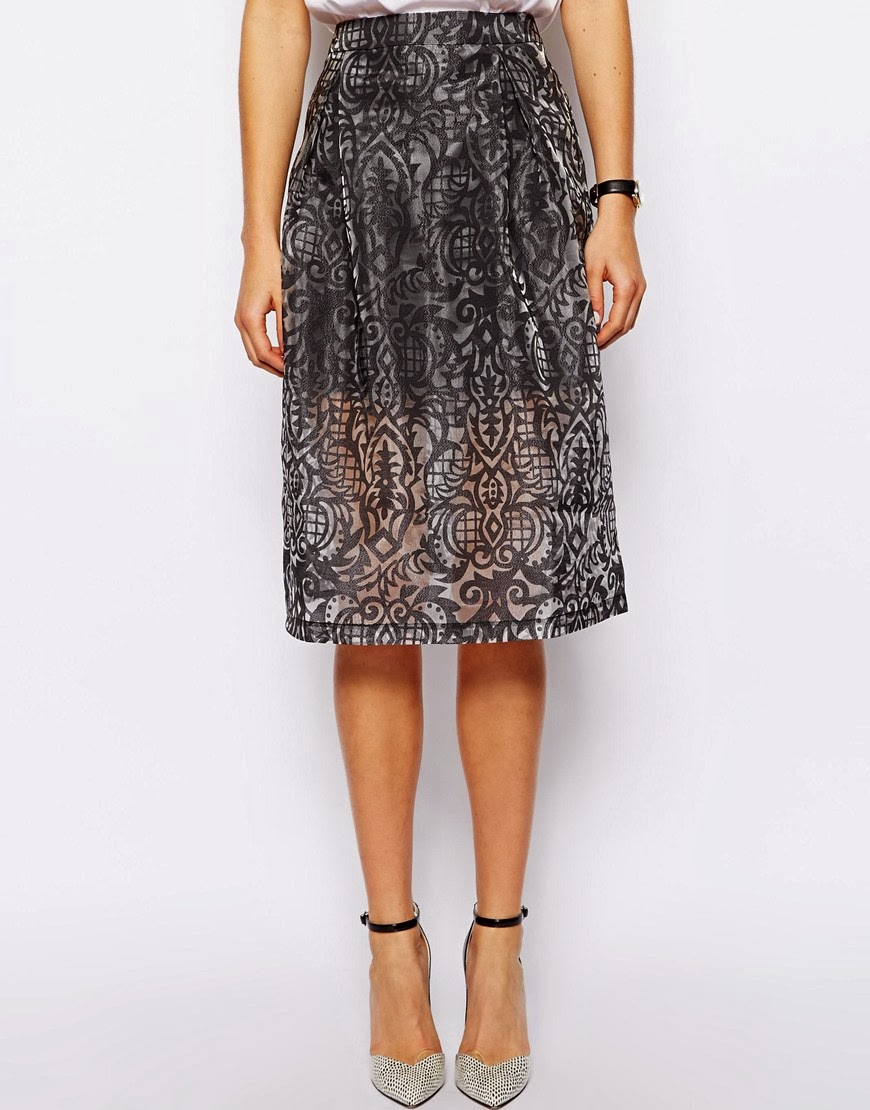 asos patterned skirt