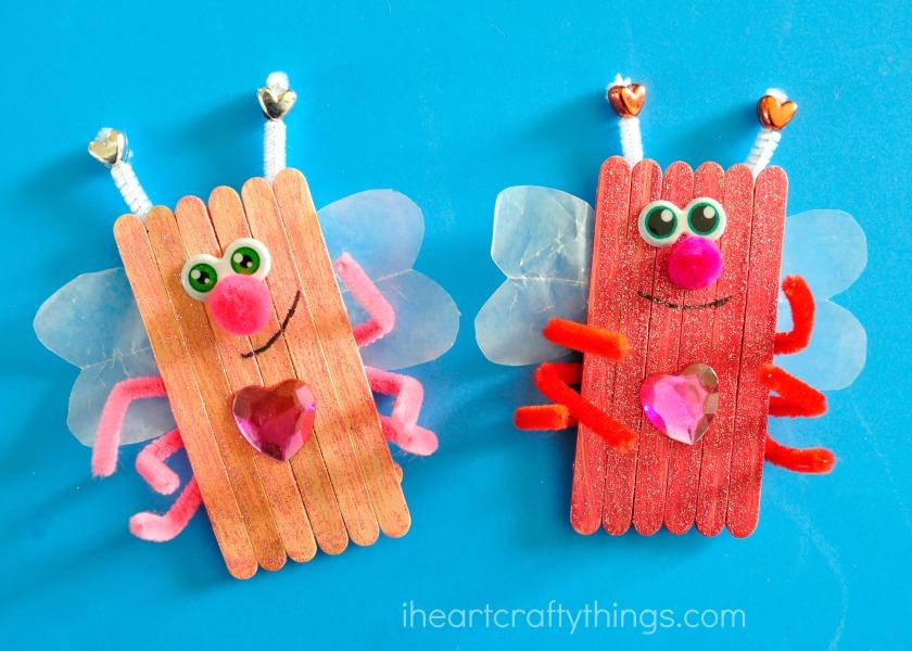 Popsicle Stick Love Bugs Valentineu0027s Day Craft