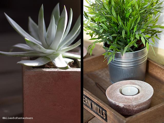 Vase und Kerzenhalter aus Beton