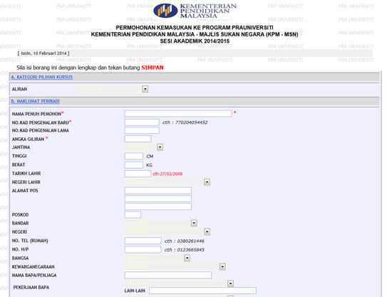 Borang Permohonan Online Program Pra U KPM-MSN 2014/2015