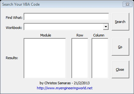 Search Your VBA Code (Excel Add-In)