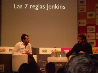 Imagen de Christian Molina y Pep Salazar en la Jornada de Transmedia en el FesTVal