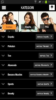 Halaman Kategori Zalora Android App