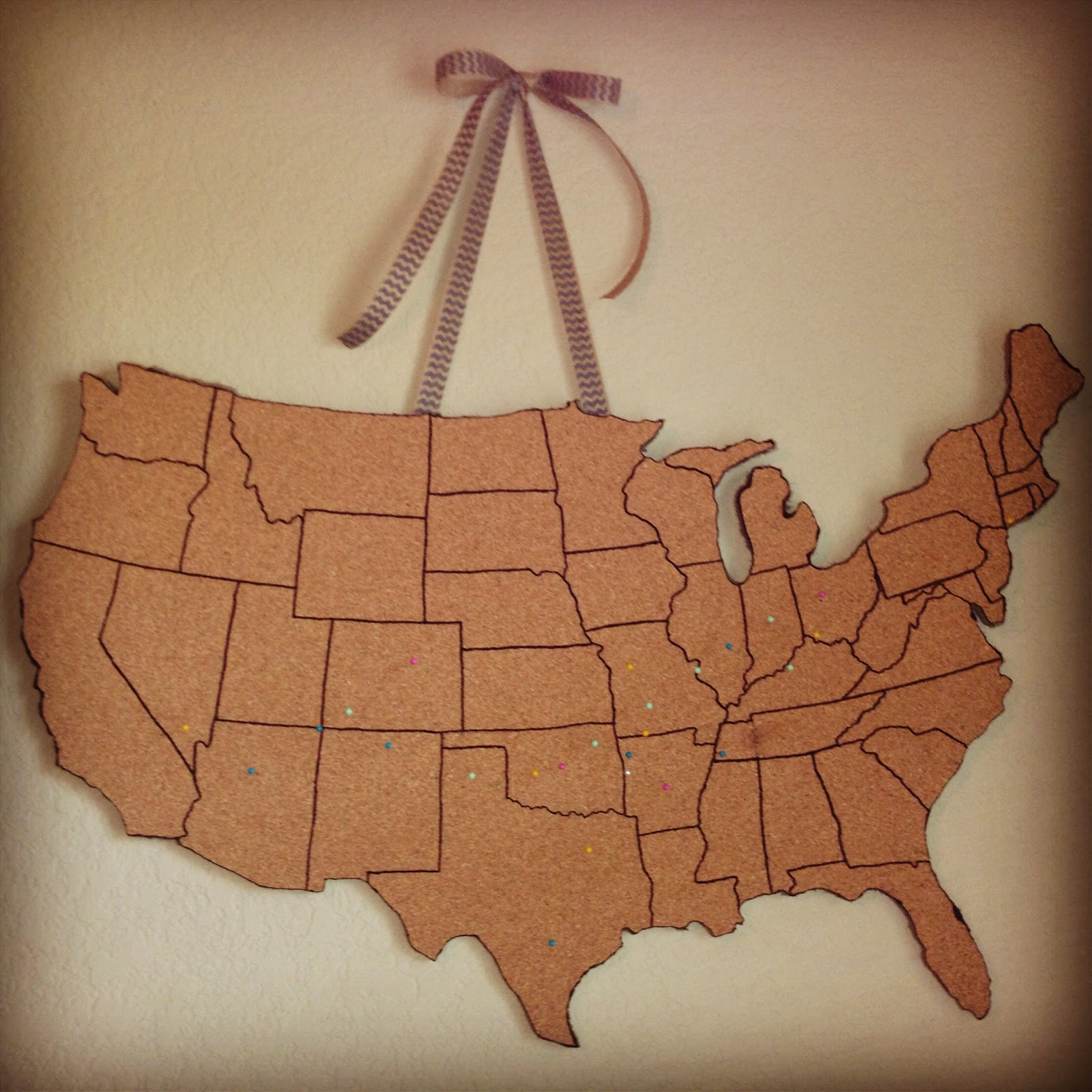 Karens Pirate Life DIY Corkboard Map Tutorial - Us travel map on cork board