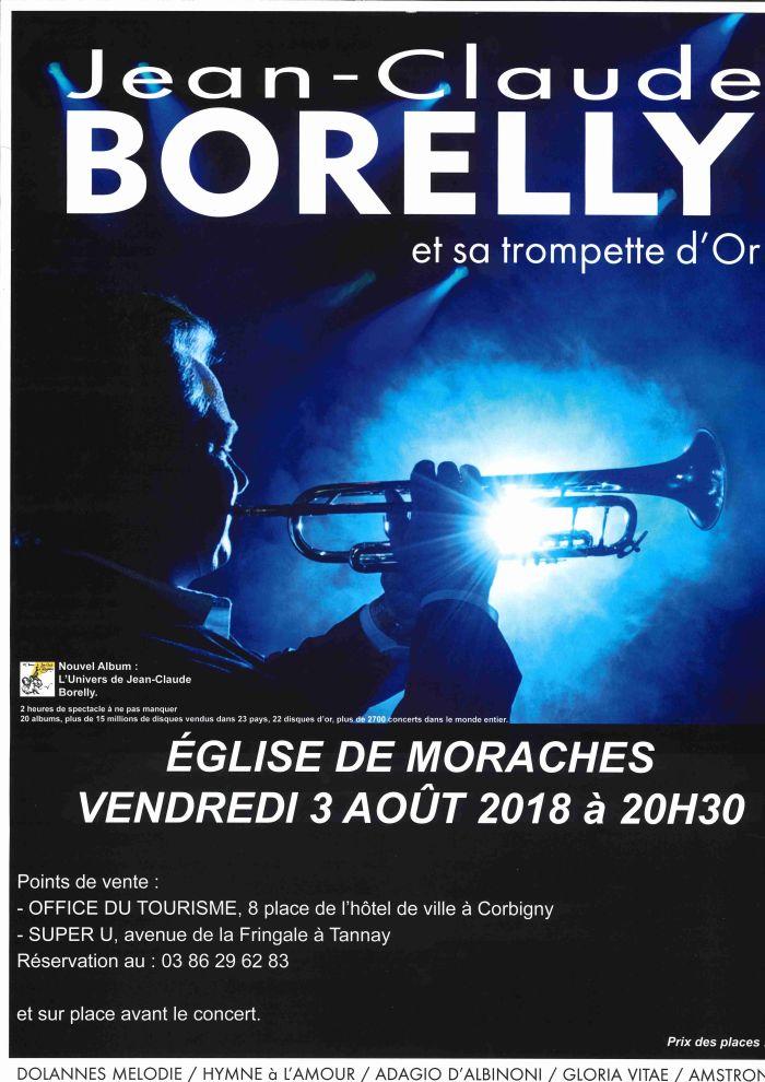 Jean - Claude Borelly et sa trompette d'Or le 03 Août à 20h30 à église de Moraches