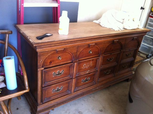 Stripping varnish off a dresser