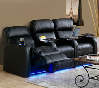 Palliser 41946 Bullet Black Leather Home Theater Seat