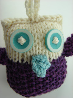 knit owl ornament purple white teal