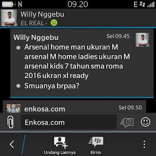 enkosa sport toko online pakaian bola terpercaya Daftar pesanan jersey oleh Willy Nggebu